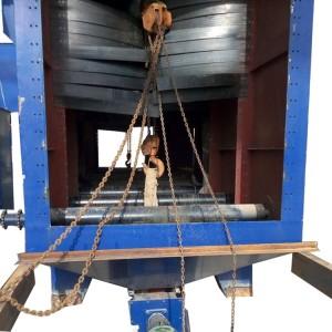 Roller conveyor shot blasting machine with hoist
